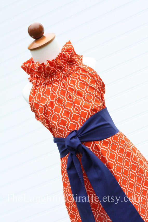 Tangerine Delight-GATOR-Women's Ruffler Dress with Removable Sash...Size XX-Small, X-Small, Small, Medium, Large...by The Laughing Giraffe