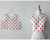 SIZE M handmade red polka dot cropped tank top