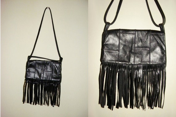 SALE 90's Guess black leather patchwork purse with fringe detail