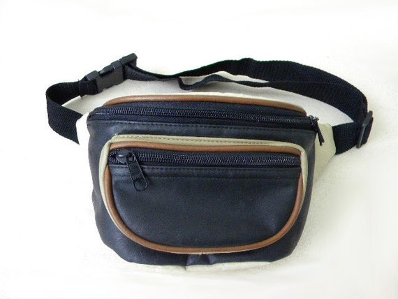 SALE 80s Multicolored faux leather fannypack