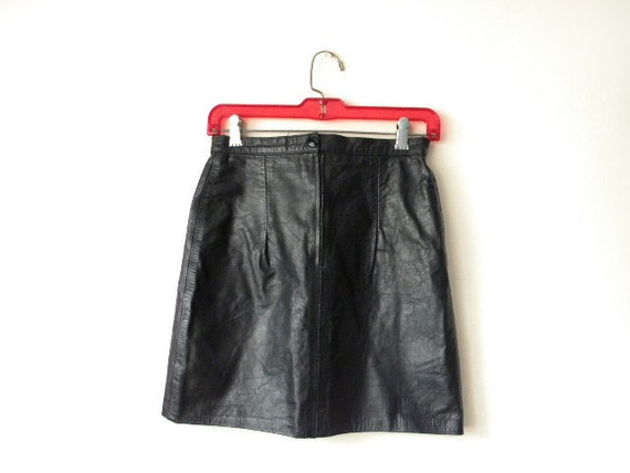 RESERVED SALE S Womens high waisted black leather mini skirt