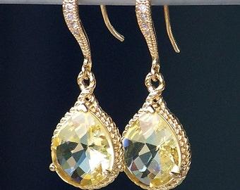 Lemon Yellow Jeweled Teardrop Earrings in Gold