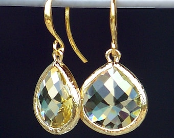 Jewelbox Jewels, Faceted Lemon Yellow Crystal and Gold Earrings