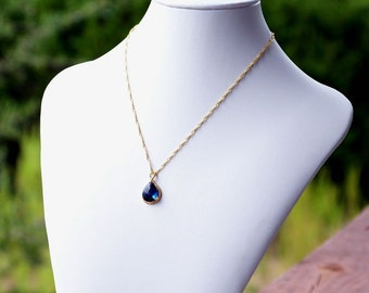 Sapphire Blue Crystal Teardrop and Gold Pendant Necklace