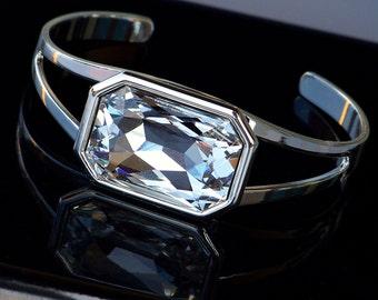 Sale- Gorgeous Octagon Swarovski Crystal and Silver Cuff Bracelet