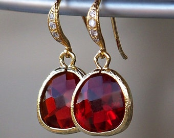 Sale/ Ruby Red Crystal Framed in 16k Gold Plating with Crystal Detailed Gold French Earrings