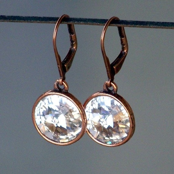 Sparkle and Shine Dangle Earrings in Antique Copper and Clear Crystal