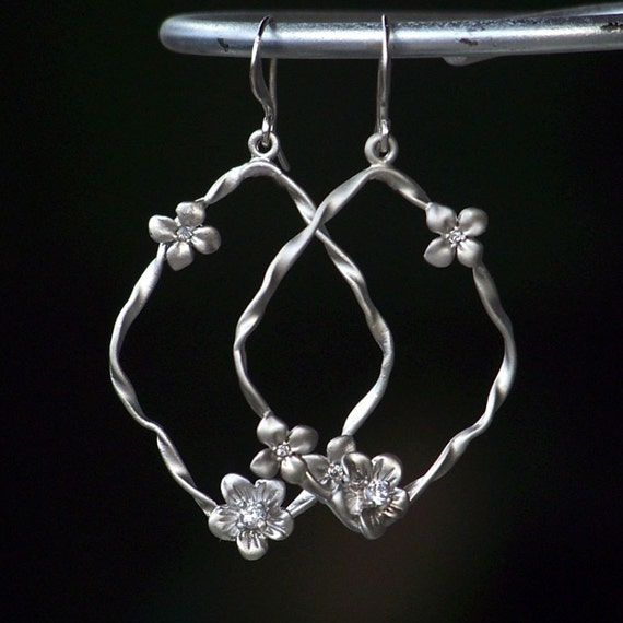 Cubic Zirconia and Matte White Gold Flower Hoop Earrings