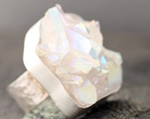 Opal Aura Quartz Crystal in Textured Silver Ring- RESERVED