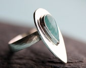Paraiba Quartz Flame Ring in Sterling Silver