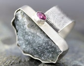 Grey Druzy and Hot Pink Tourmaline Sterling Silver Ring- Textured and Oxidized
