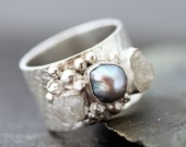 Raw Diamonds in Textured Sterling Silver Ring- Custom Made