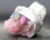 Massive Mixed Pink Crystal Specimen in Textured Silver Ring