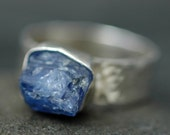 Tanzanite Crystal in Hammered Ring