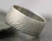 Herringbone Textured Sterling Silver Ring