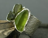 Peridot Crystals in Sterling Silver Ring