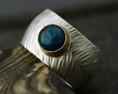 Bright Blue Apatite in Gold and Sterling Silver Ring