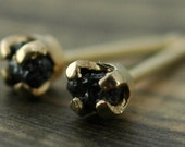 Small Rough Black Diamonds in 14k Yellow Gold Earring