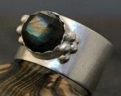 Rose-Cut Labradorite on Sterling Silver Ring- Custom Made
