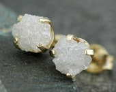 Rough Diamonds in 14k Yellow or White Gold Earrings- 5mm stones