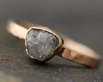 Rough Large Diamond Stacker Ring in 14k Gold- Size C Diamonds
