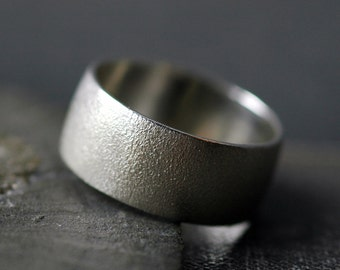 3/8 Inch Textured Sterling Silver Band- Custom