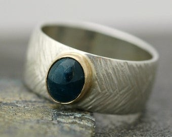 On Sale- Bright Blue Apatite in Gold and Sterling Silver Ring