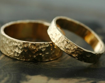 Wedding Bands- 14k Recycled Gold, Hammered Finish