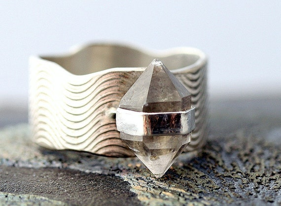 Herkimer Diamond Ring- Textured Sterling Silver Band