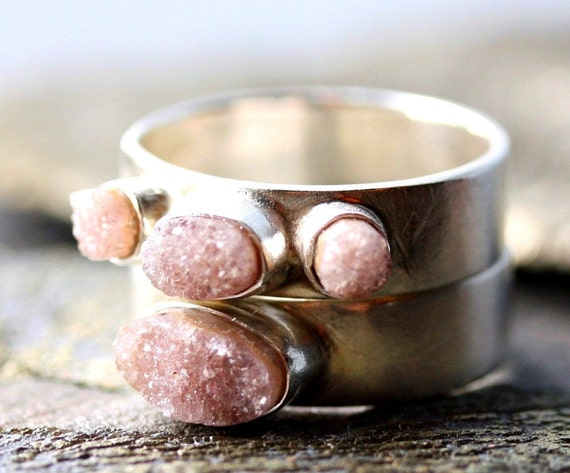Crystal Druzy Wedding Band and Engagement Ring Set- Custom Made