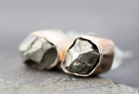 Pyrite Brass Earrings on Sterling Posts