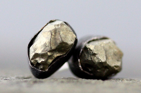 Pyrite Oxidized Silver Earrings on Sterling Posts