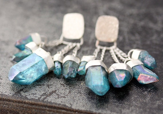 Aqua Aura Quartz Charm Earrings on Chains in Sterling Silver- Custom Made to Order