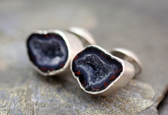 Geode Cuff Links in Sterling Silver- Custom Made- Choose Your Geodes- Unusual Colours