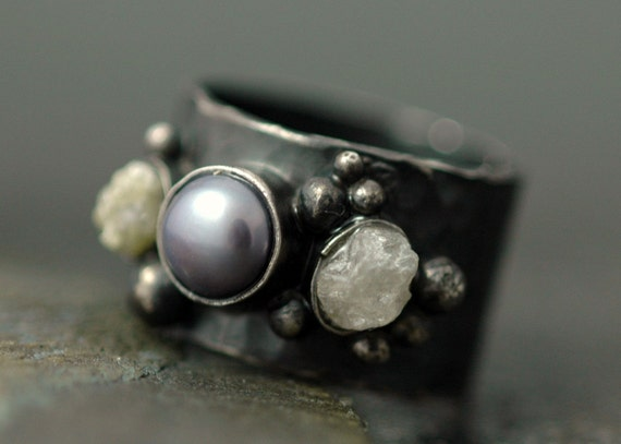 Raw Diamonds and Steel Grey Pearl in Oxidized Textured Sterling Silver Ring- Custom Made
