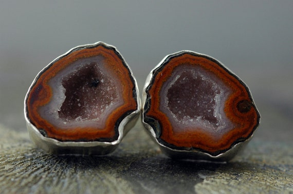 Geode Cuff Links in Hammered Sterling Silver- Custom Made- Choose Your Geodes
