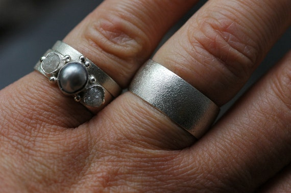 Three Rings- Rough Diamond Engagement Ring  and His-and-hers Wedding Band Set