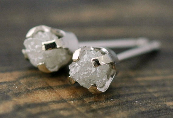 Rough Diamonds in 14k White Gold Earrings