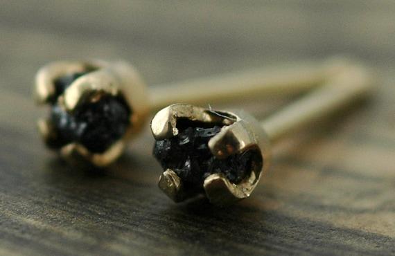 Small Rough Black Diamonds in 14k Yellow Gold Earring