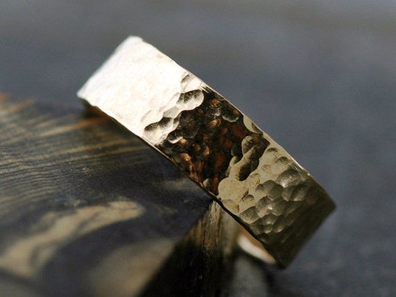 Gold Wedding Band- 14k Gold, Hammered Finish