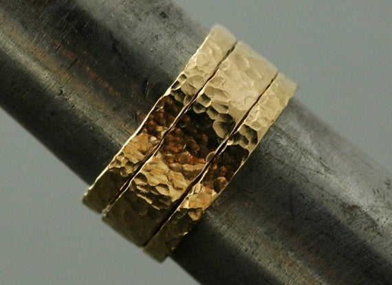 Gold Stacking Rings- Set of Three-14k Gold, Hammered Finish