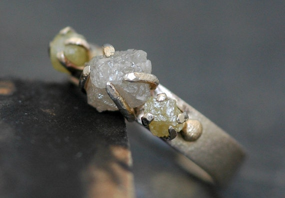 Rough Diamond and White Gold Ring Set- Reserved, 50% payment