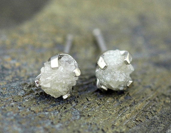 Rough Diamonds in 14k Yellow and White Gold Earrings- Reserved