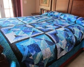 Handmade King/Queen Size Blue Bouillabaisse Bed Quilt
