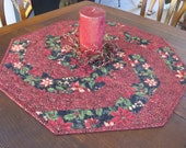 Red Poinsettias Swirling Christmas Quilt Table Topper