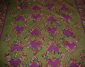 Handmade Colorful Floral Lap Quilt