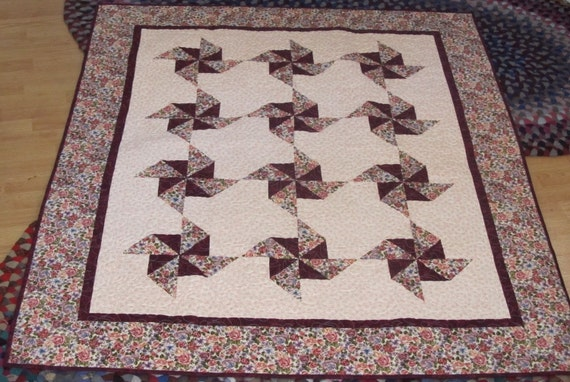 Handmade Maroon Floral Pinwheel Lap Quilt