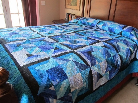 Handmade King Queen Size Blue Bouillabaisse Bed Quilt