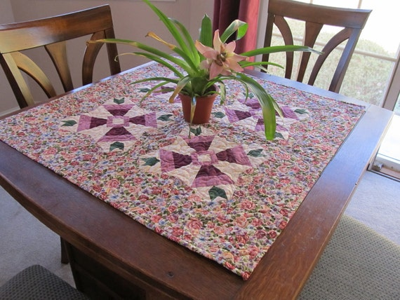 Handmade Floral Quilted Table Topper