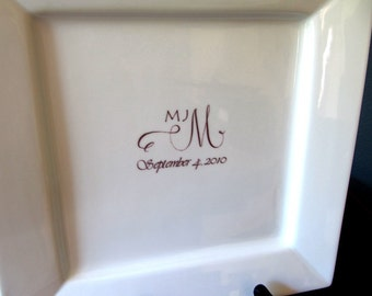 Guest Book Platter with your Custom Monogram or Design up to 50 Signatures